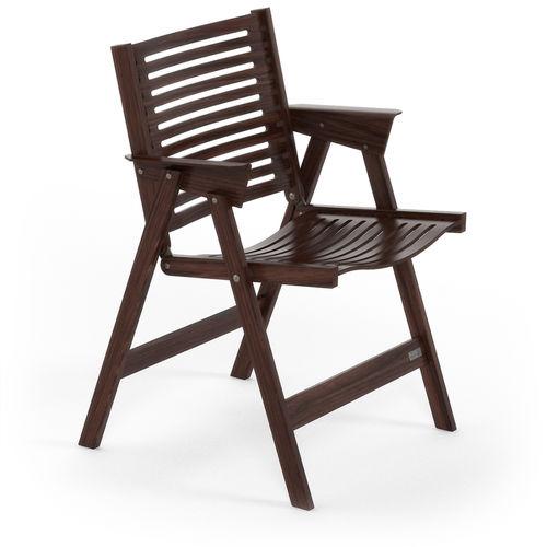 Scandinavian design chair / folding / with armrests / walnut