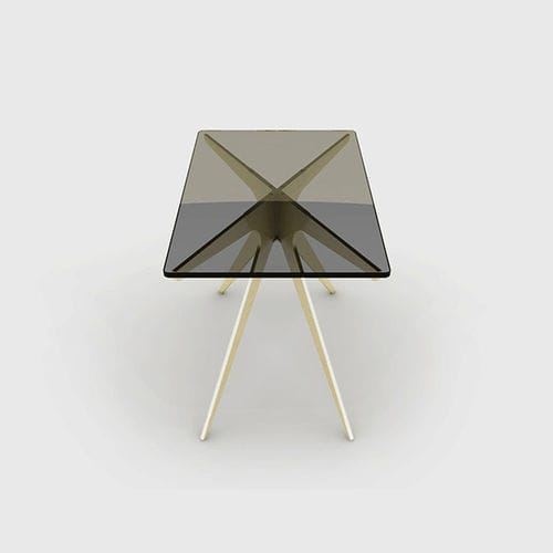 contemporary side table / tempered glass / steel / rectangular