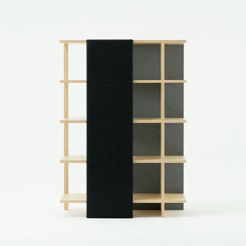 room divider bookcase / contemporary / wooden / fabric