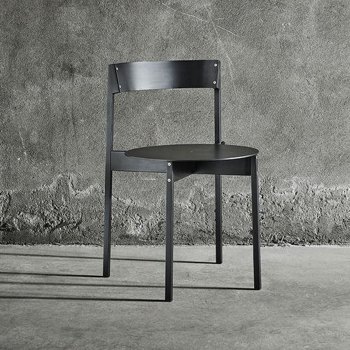 contemporary chair / stackable / iron / brass