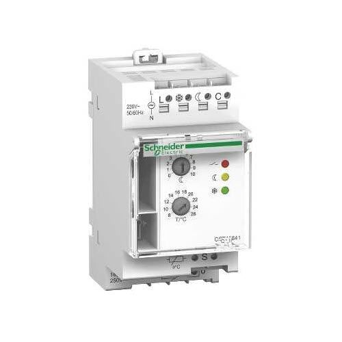 room thermostat / programmable / DIN rail / for heating