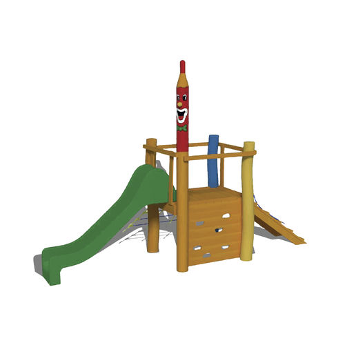 playground play structure / wooden / stainless steel