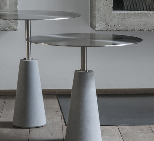 contemporary side table / steel / stone / round