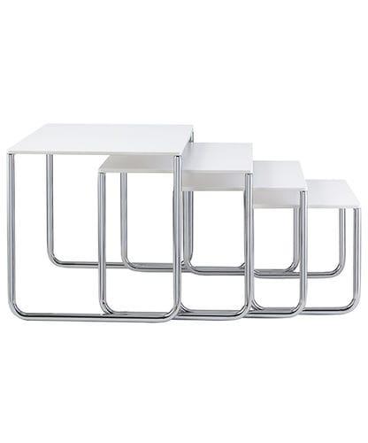 contemporary nesting tables / laminate / chromed metal / square