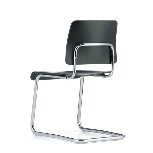 Bauhaus design visitor chair / upholstered / with armrests / cantilever