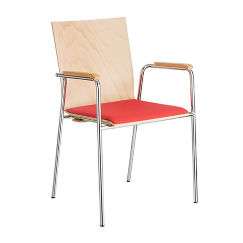 conference chair with armrests / upholstered / beech / chrome