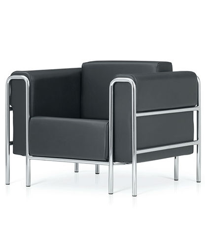 contemporary visitor armchair / chrome / leather