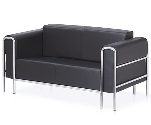 contemporary sofa / leather / chromed metal / commercial