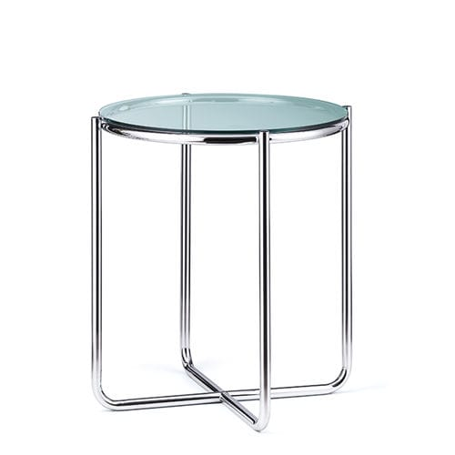 Bauhaus design side table / glass / steel / round