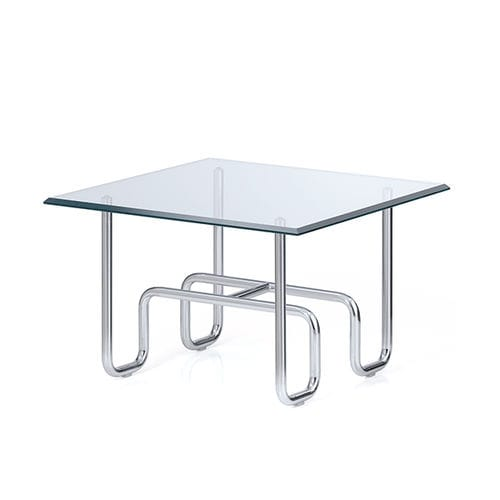 contemporary coffee table / glass / chromed metal / square