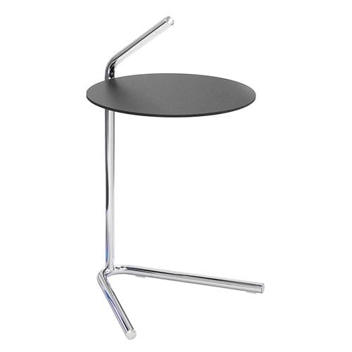 contemporary side table / metal / laminate / round