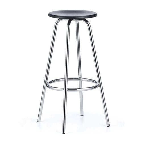 contemporary bar stool / leather / chromed metal / beech