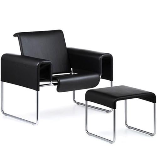 contemporary visitor armchair / fabric / steel / sled base