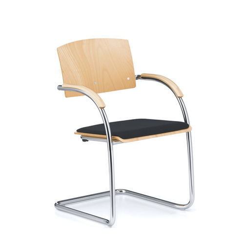 stackable conference chair / upholstered / with armrests / cantilever