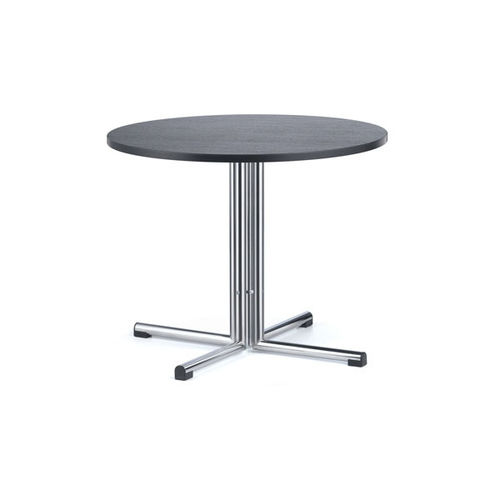 contemporary bistro table / beech / chromed metal / round
