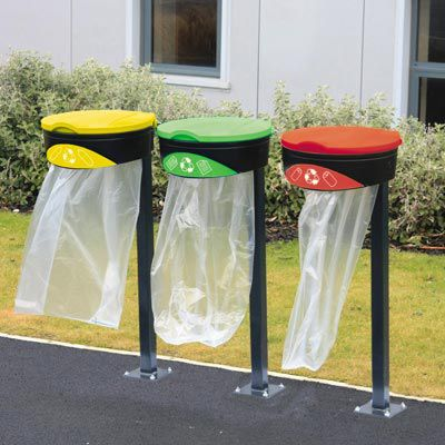 public trash bag holder / with legs / metal / commercial