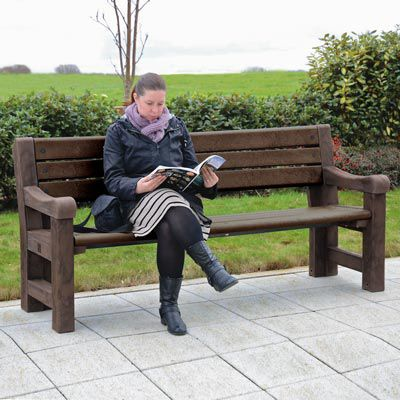 Public bench / rustic / recycled plastic / composite ELWOOD™  Glasdon Group Limited
