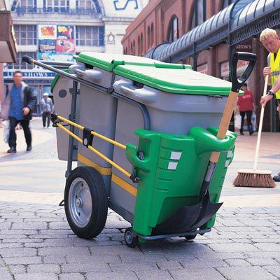 waste trolley / commercial / steel / plastic