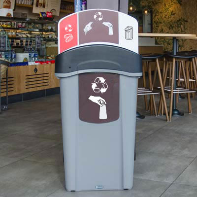 public trash can / recycled plastic / for public spaces / recycling