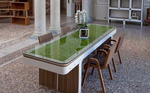 original design table / wooden / glass / cardboard