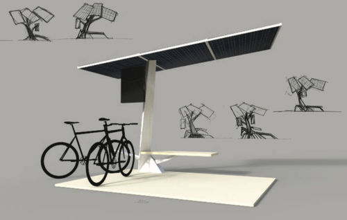 Steel cycle shelter / with solar panel Modern E-Bike Charging Station HBT Energietechnik GmbH