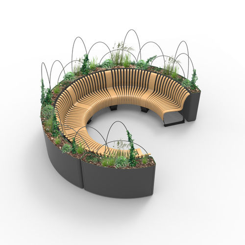 Steel planter / modular / with integrated bench / contemporary RADIUS Green Furniture Concept