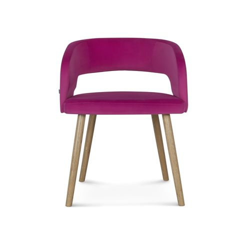 traditional restaurant chair / upholstered / with armrests / wooden