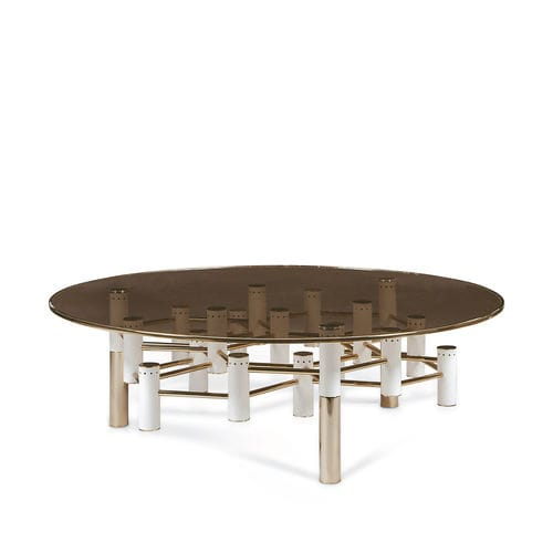 contemporary coffee table / polished brass / brushed brass / smoked glass