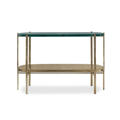 contemporary sideboard table / polished brass / brushed brass / marble