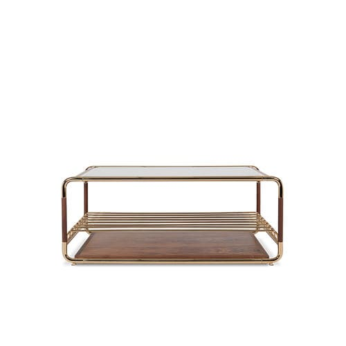 contemporary coffee table / polished brass / brushed brass / walnut