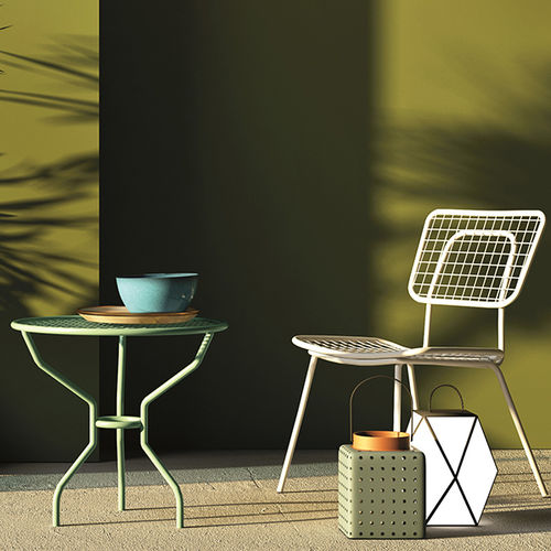 contemporary coffee table / painted metal / mesh / round