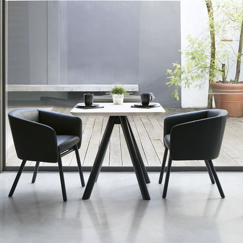 Contemporary chair / fabric / beech / with armrests BALU' by Emilio Nanni Traba'