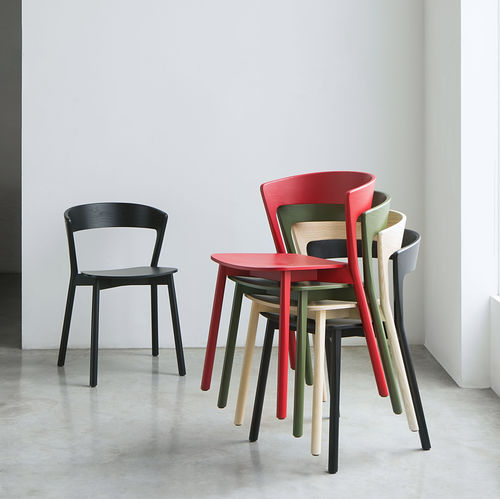 contemporary chair / stackable / fabric / beech