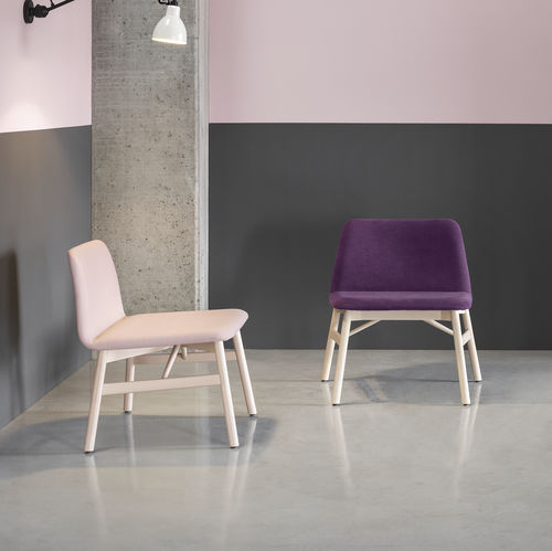 Scandinavian design fireside chair / fabric / for hotels / contract
