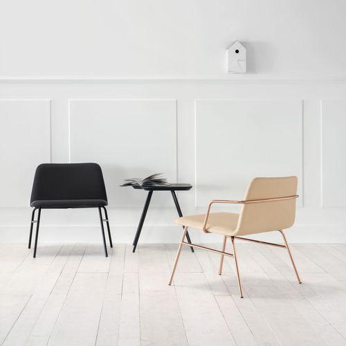 Scandinavian design armchair / fabric / metal / white