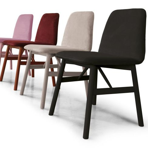 Scandinavian design chair / upholstered / fabric / plywood