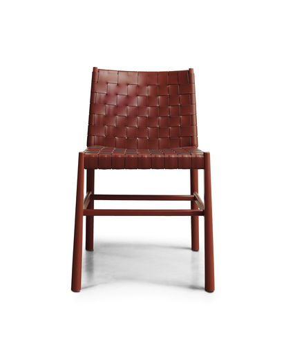 contemporary chair / wooden / leather / contract
