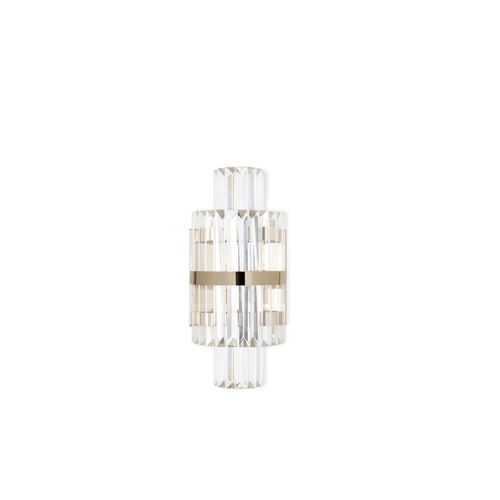 contemporary wall light / living room / gold-plated brass / crystal
