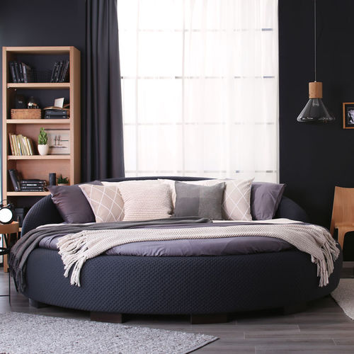 round bed / double / contemporary / upholstered