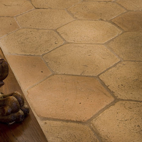 floor hexagonal tile / terracotta / embossed / smooth