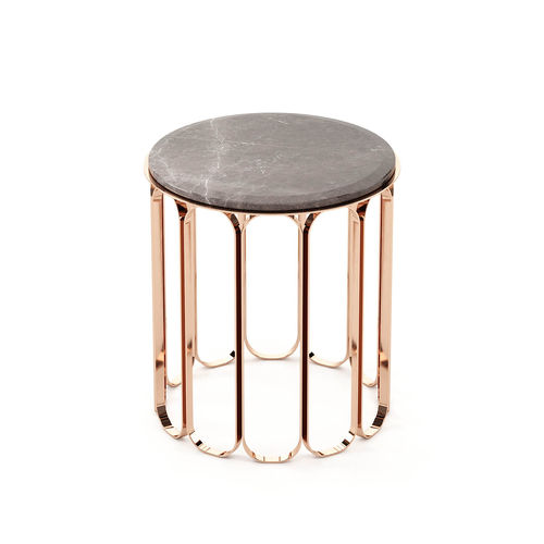 contemporary side table / wooden / marble / metal base