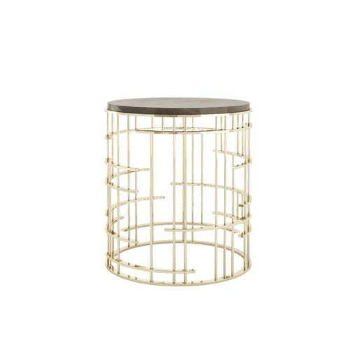 contemporary side table / metal / marble / round