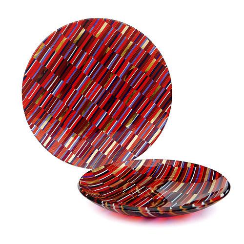 Flat plate / round / Murano glass IRIDE veveglass