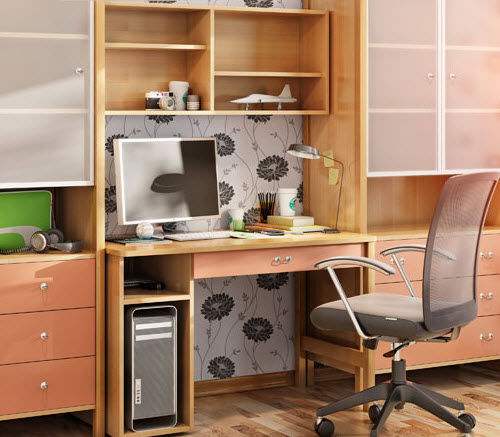 wooden desk / contemporary / with storage / child's