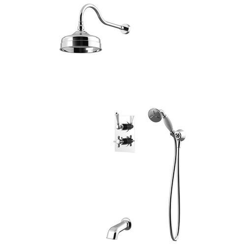 recessed wall shower set / traditional / with hand shower / thermostatic