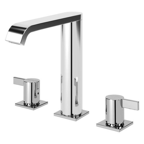 double-handle washbasin mixer tap / free-standing / chrome-plated brass / bathroom