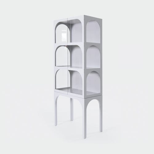 contemporary display case / with long legs / MDF / lacquered wood