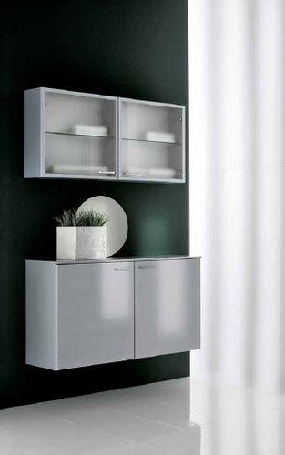 Wall-hung washbasin cabinet / aluminum / wooden / contemporary ...