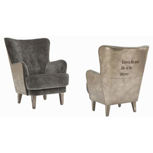 traditional armchair / fabric / leather / bergere