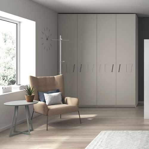 contemporary wardrobe / MDF / with swing doors / with drawer